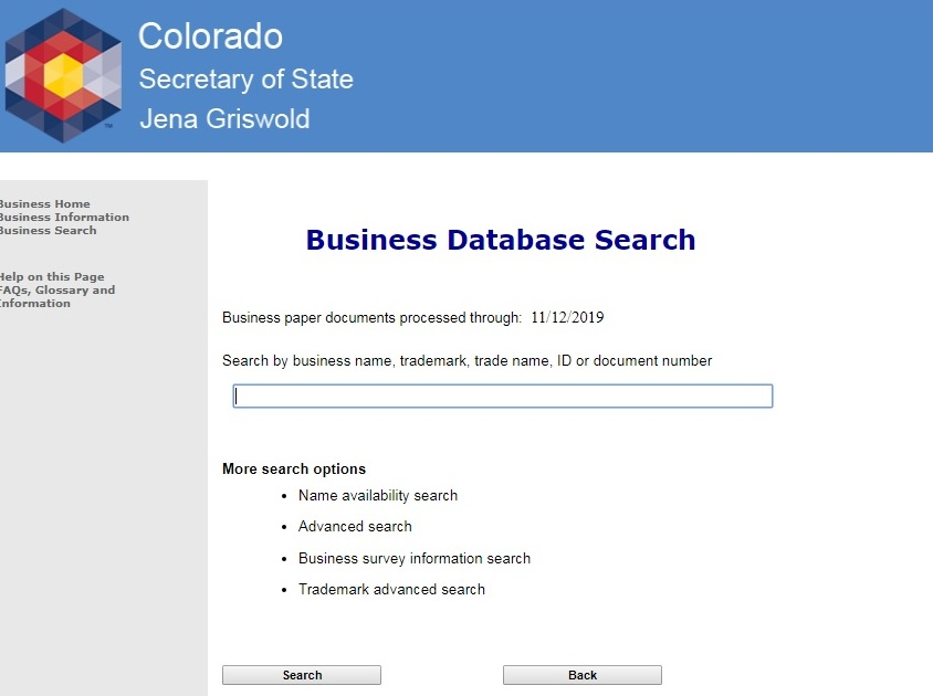 Screenshot of the Colorado Secretary of State's website showing the page for the Business Database Search where you can search by names for businesses registered in Colorado.