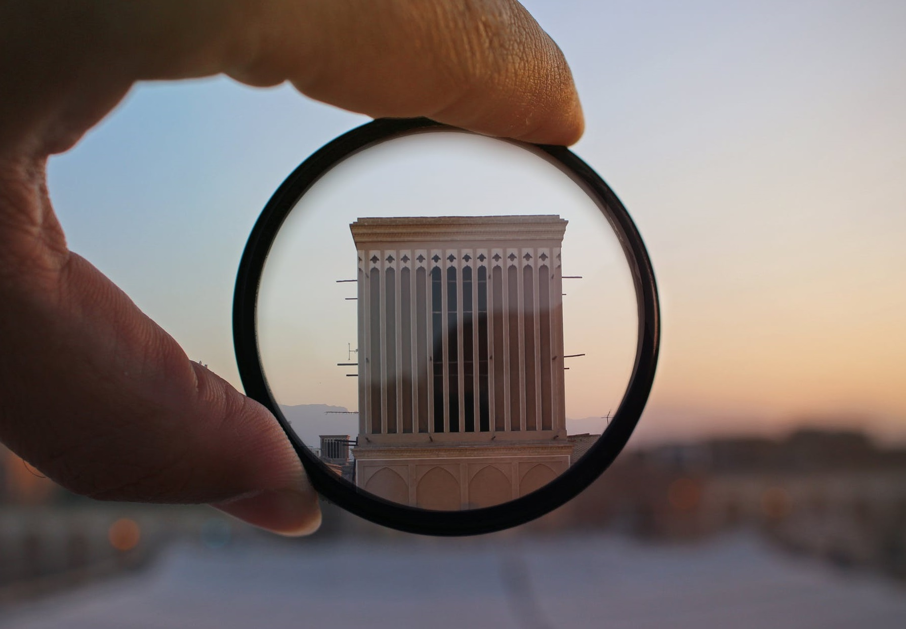 Examining a building through a lense