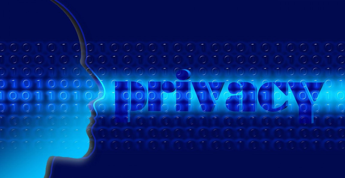 A modern blue background with the word 'privacy' written in large letters next to the side profile of a person's face.