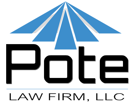 Logo for Pote Law Firm, a jewel blue peak
