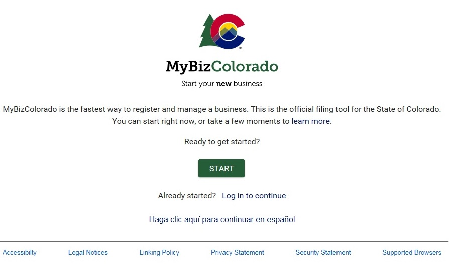 Welcome page for MyBizColorado website where new business owners in Colorado can register their business for help with licenses and permits.