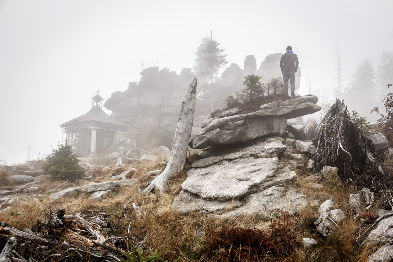 Man standing on rocks peering beyond a veil of fog to the structure and forest behind it