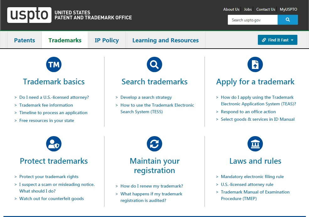 Screenshot of the page to search for a trademarks on the United States Patent and Trademark Office's website