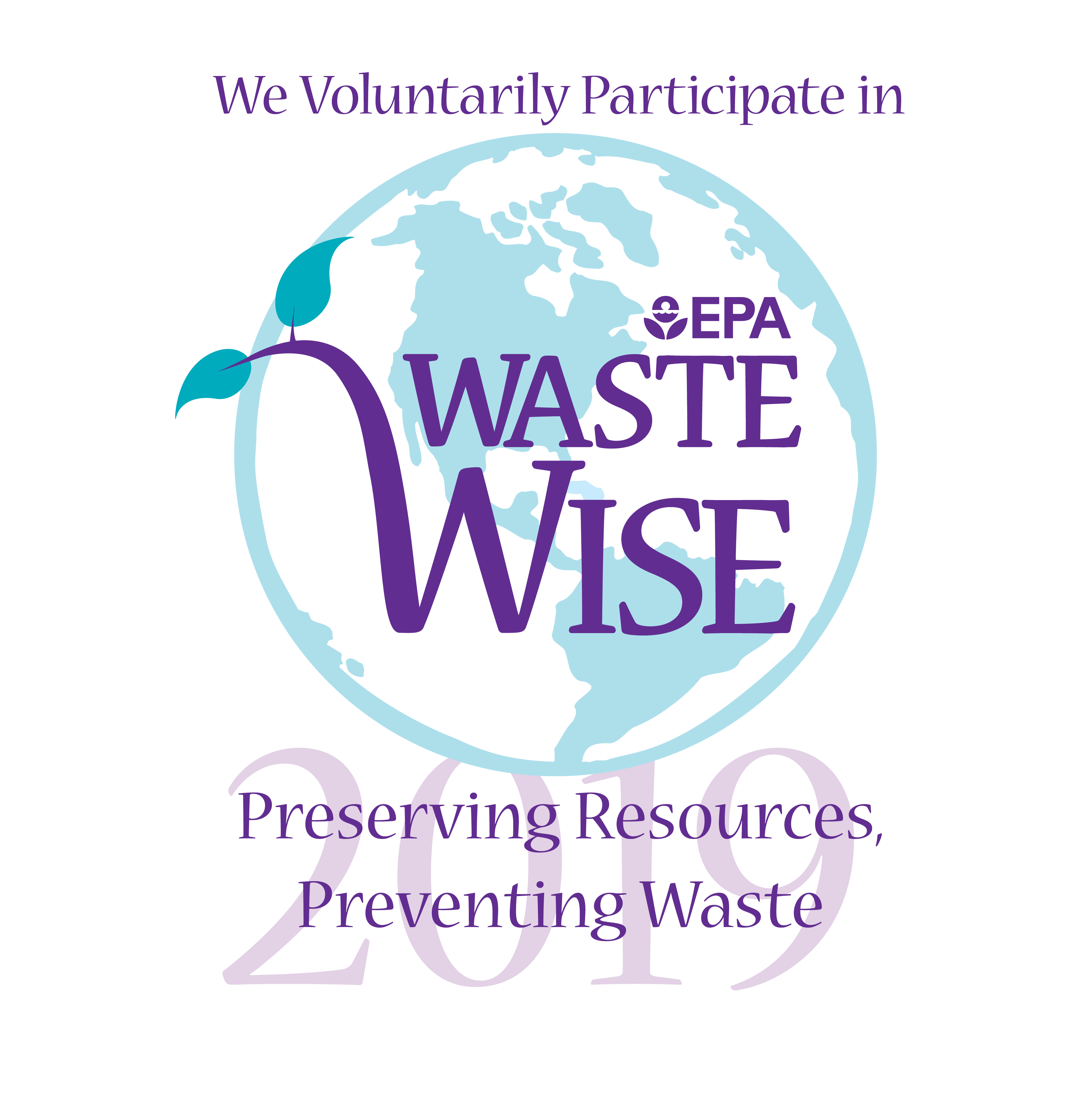 EPA WasteWise Logo, the words 'preserving resources, preventing waste' before a blue and white image of the Earth